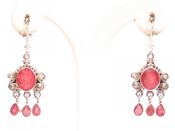 orecchini in argento e radice di rubino-gioielli etnici-atlantide
