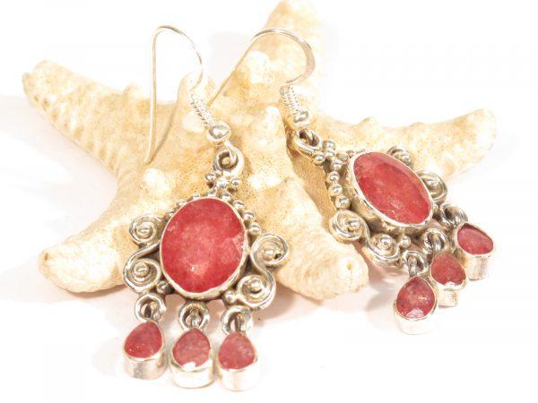 orecchini in argento e radice di rubino