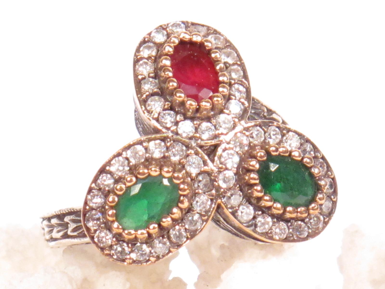 anello turco in zirconi paste vitree argento e bronzo