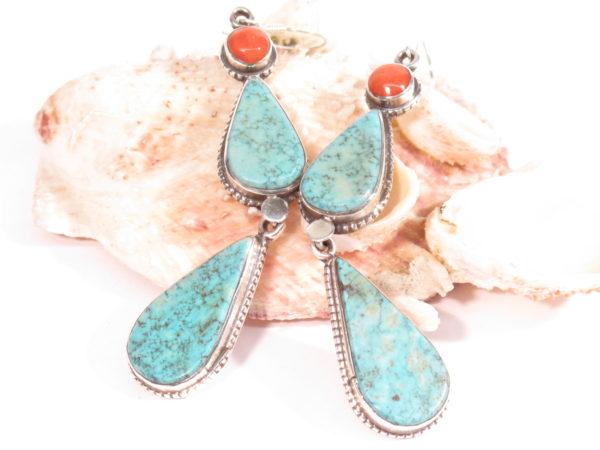 orecchini tibetani in argento, turchese e corallo