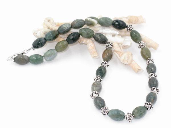 collana in argento e agata verde