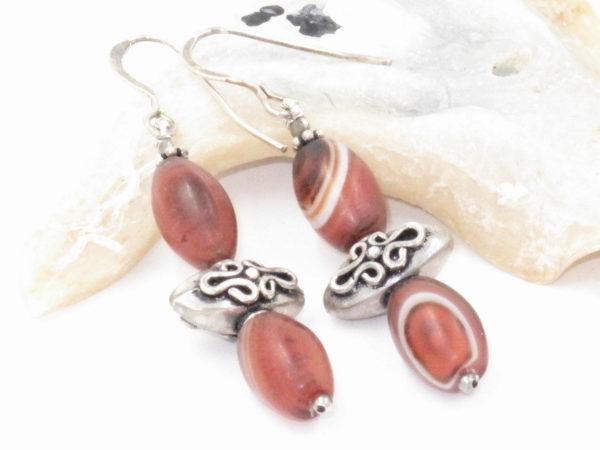 orecchini Iraniani in argento e agate