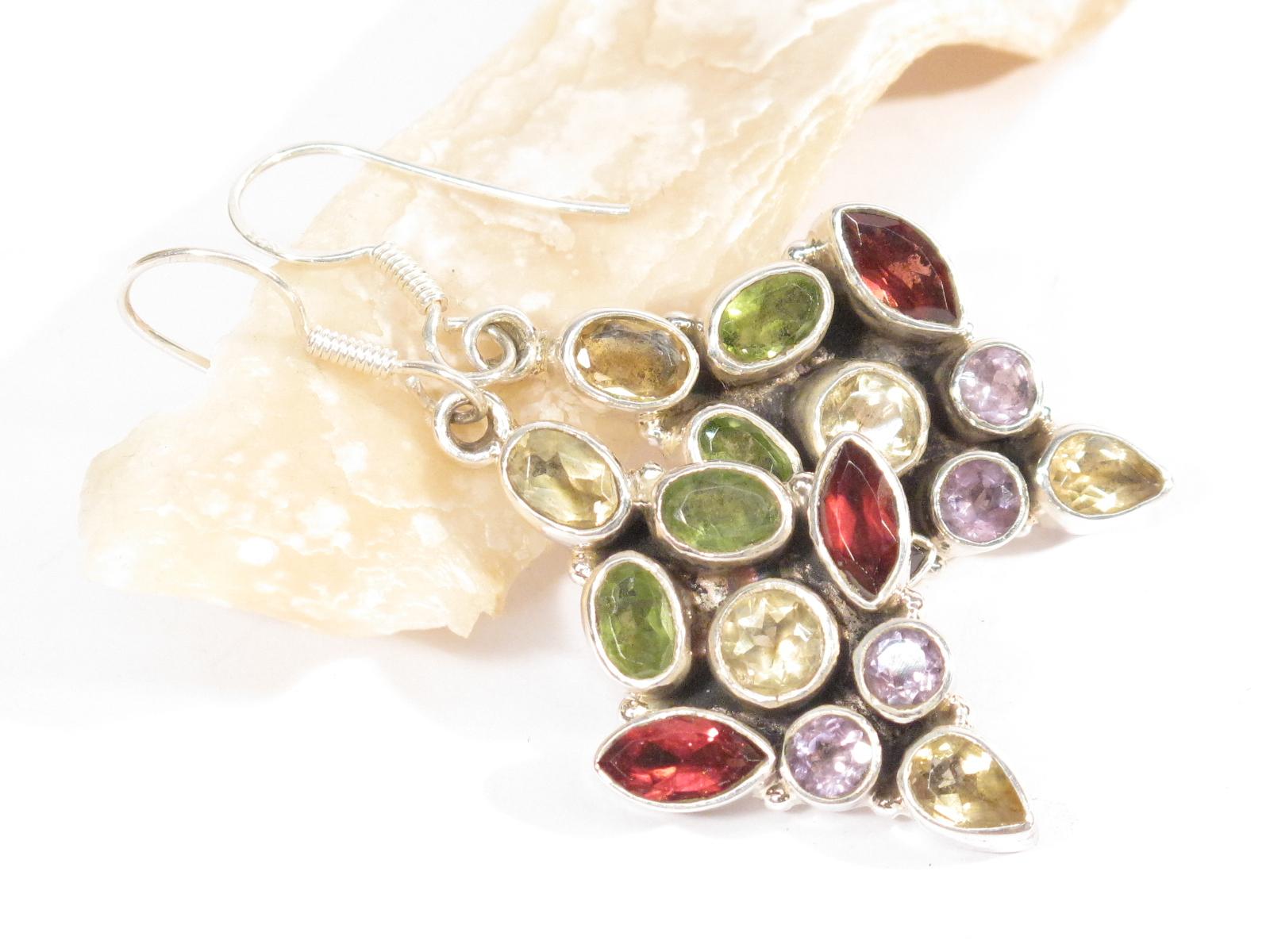 orecchini neaplesi in argento e pietre multicolor