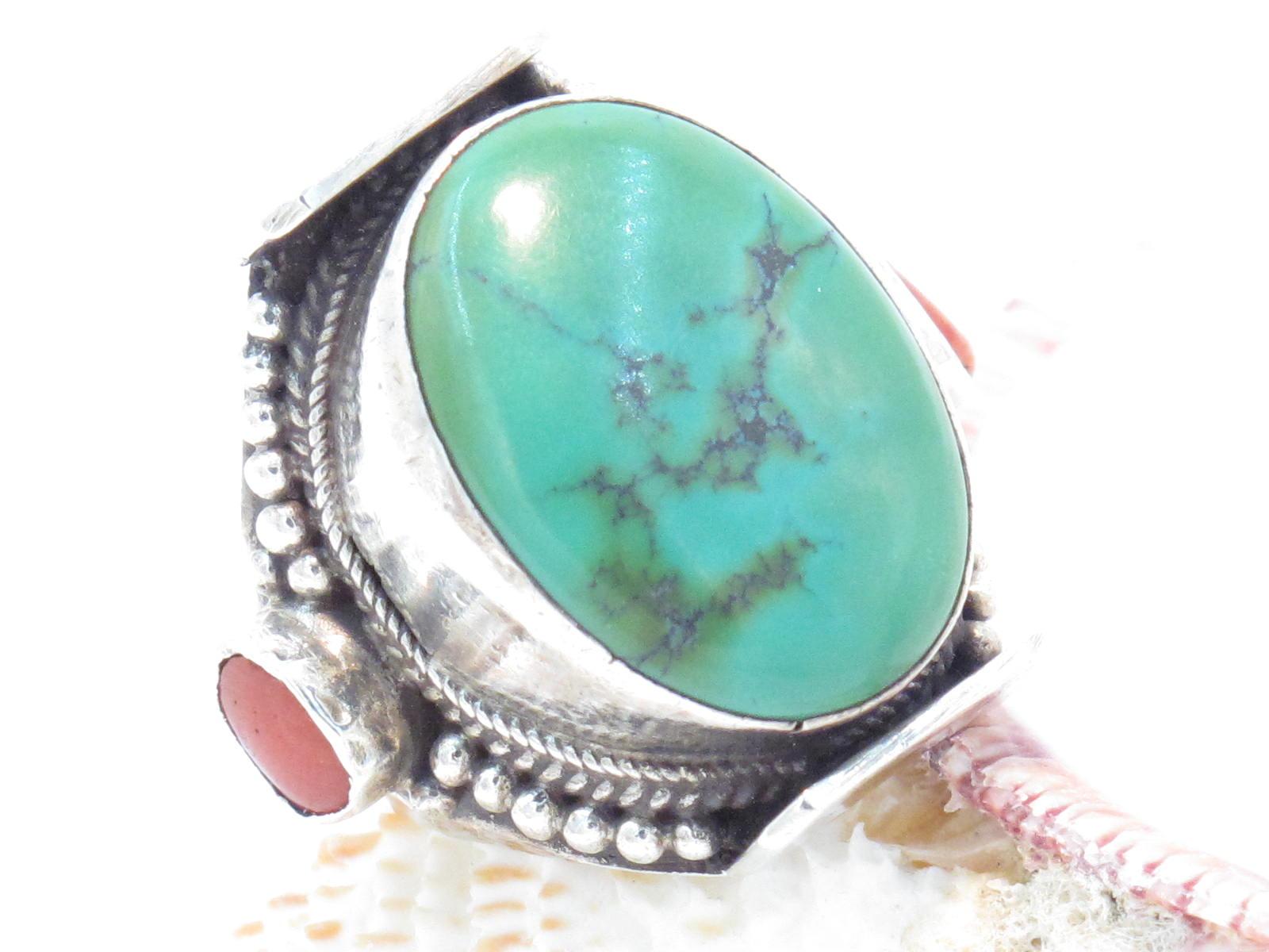 anello Tibetano a sella in turchese e corallo