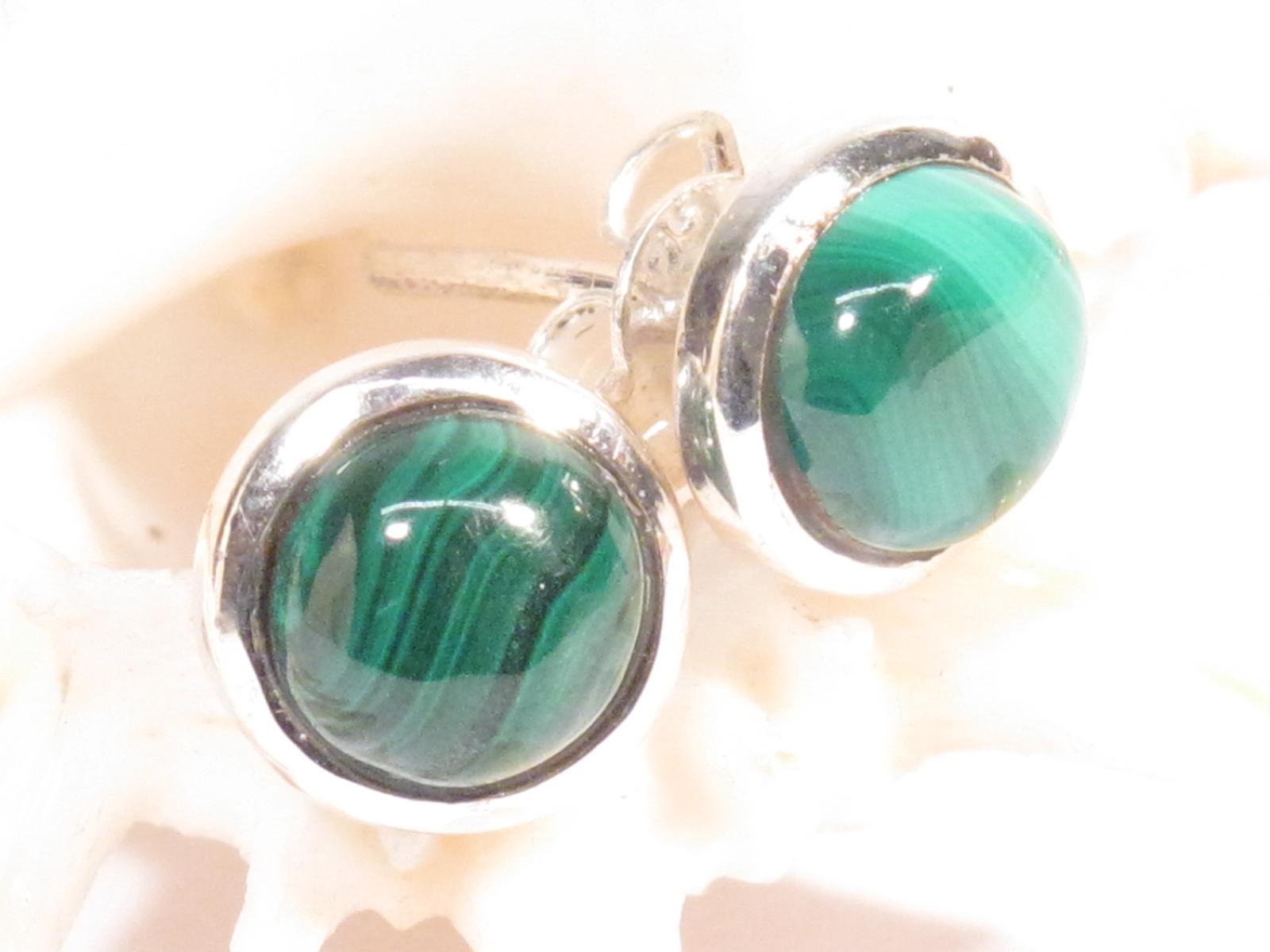 orecchini in argento e malachite