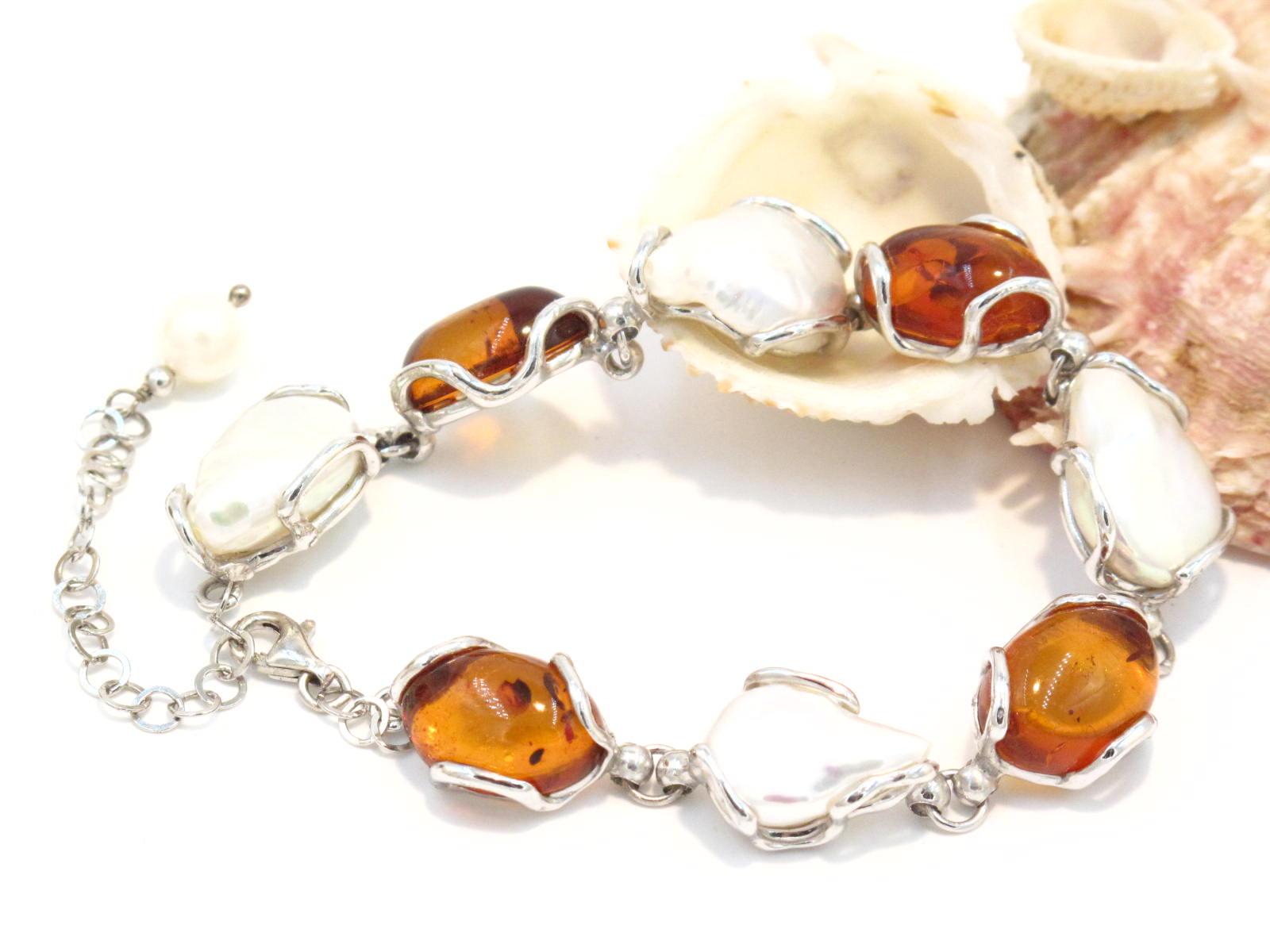 bracciale in argento, ambra e perle