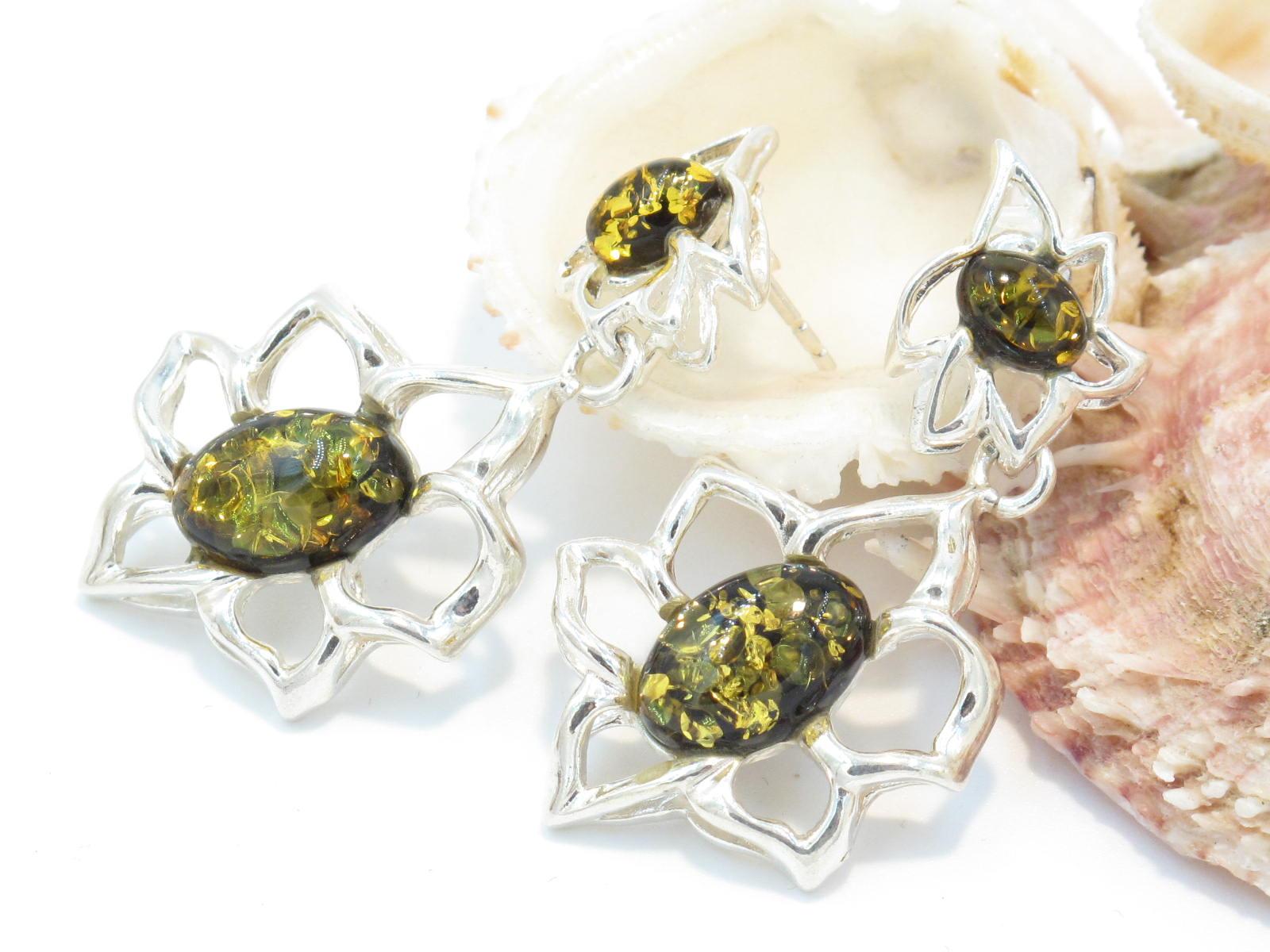orecchini argento e ambra verde