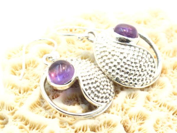 orecchini nepalesi in argento e ametista