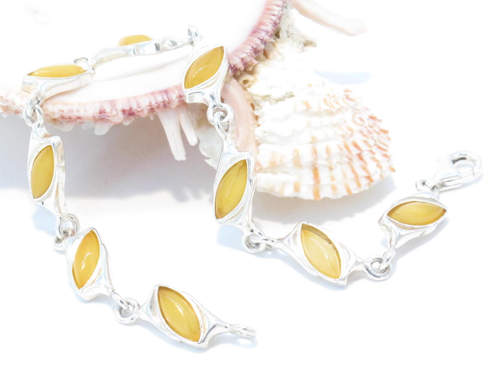 bracciale in argento e ambra gialla