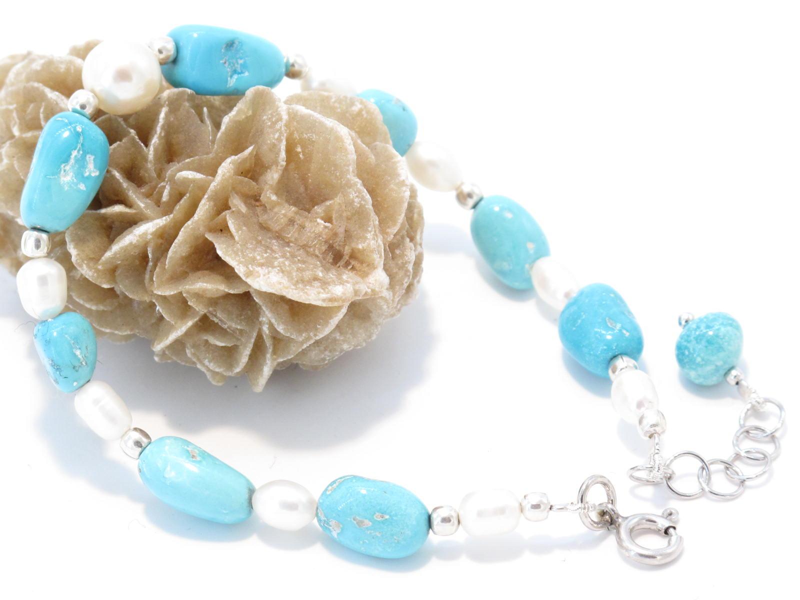 bracciale in argento, turchese e perle di fiume
