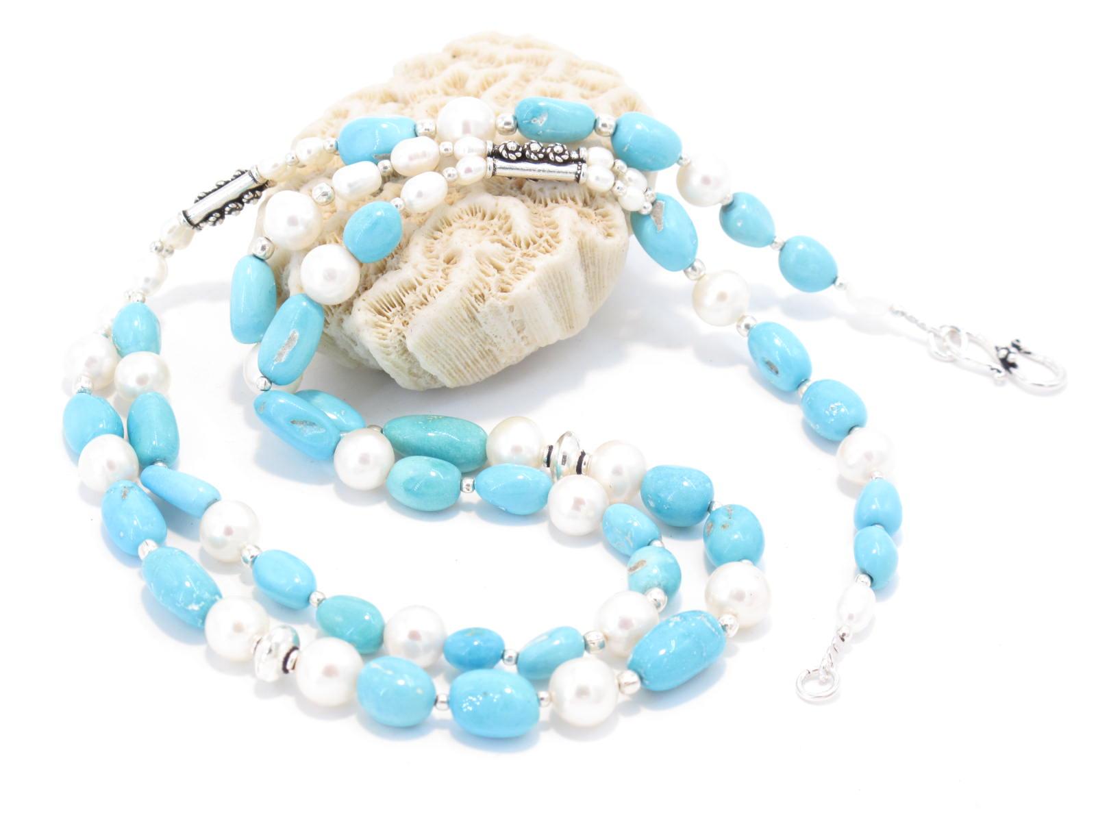 collana in argento, perle di fiume e turchese