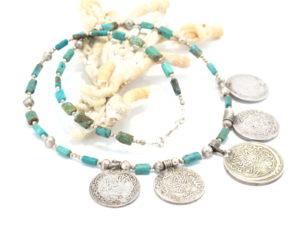 collana yemenita in argento e turchese 0