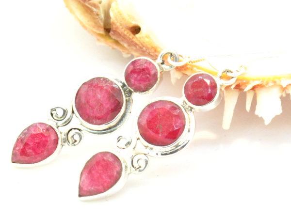 orecchini nepalesi in argento e radice di rubino