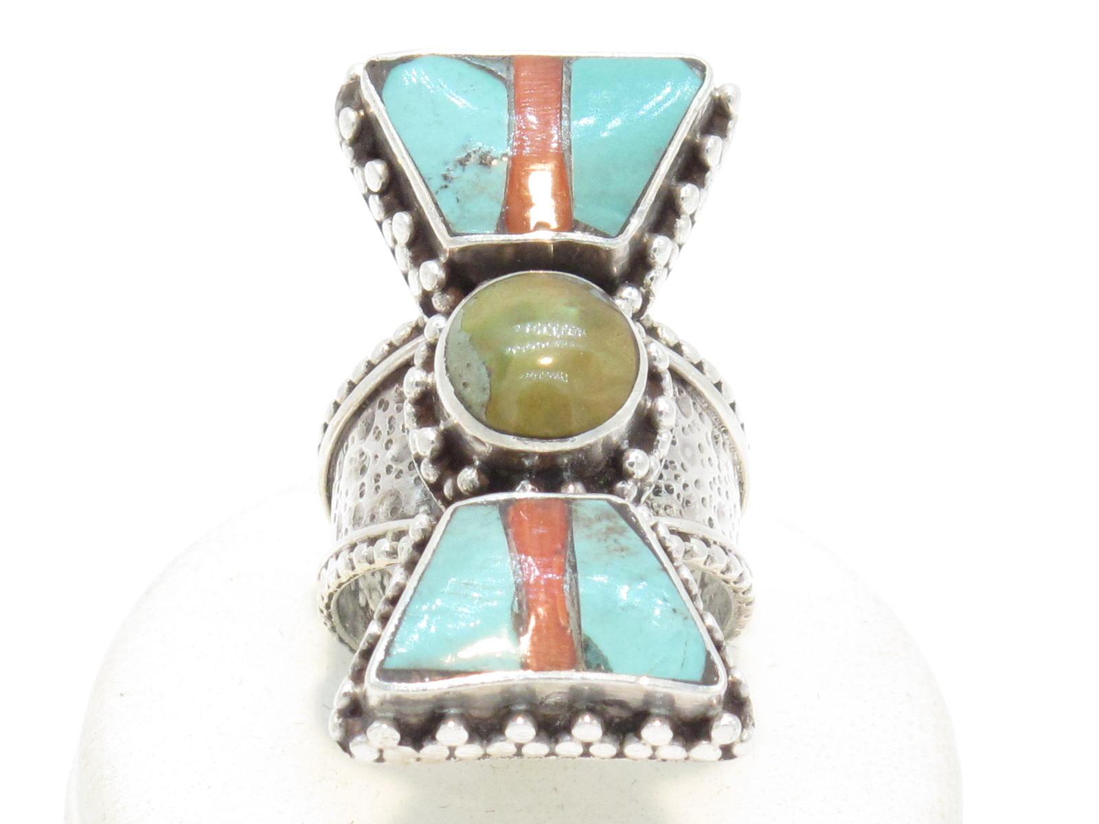 anello tibetano in argento turchese e corallo