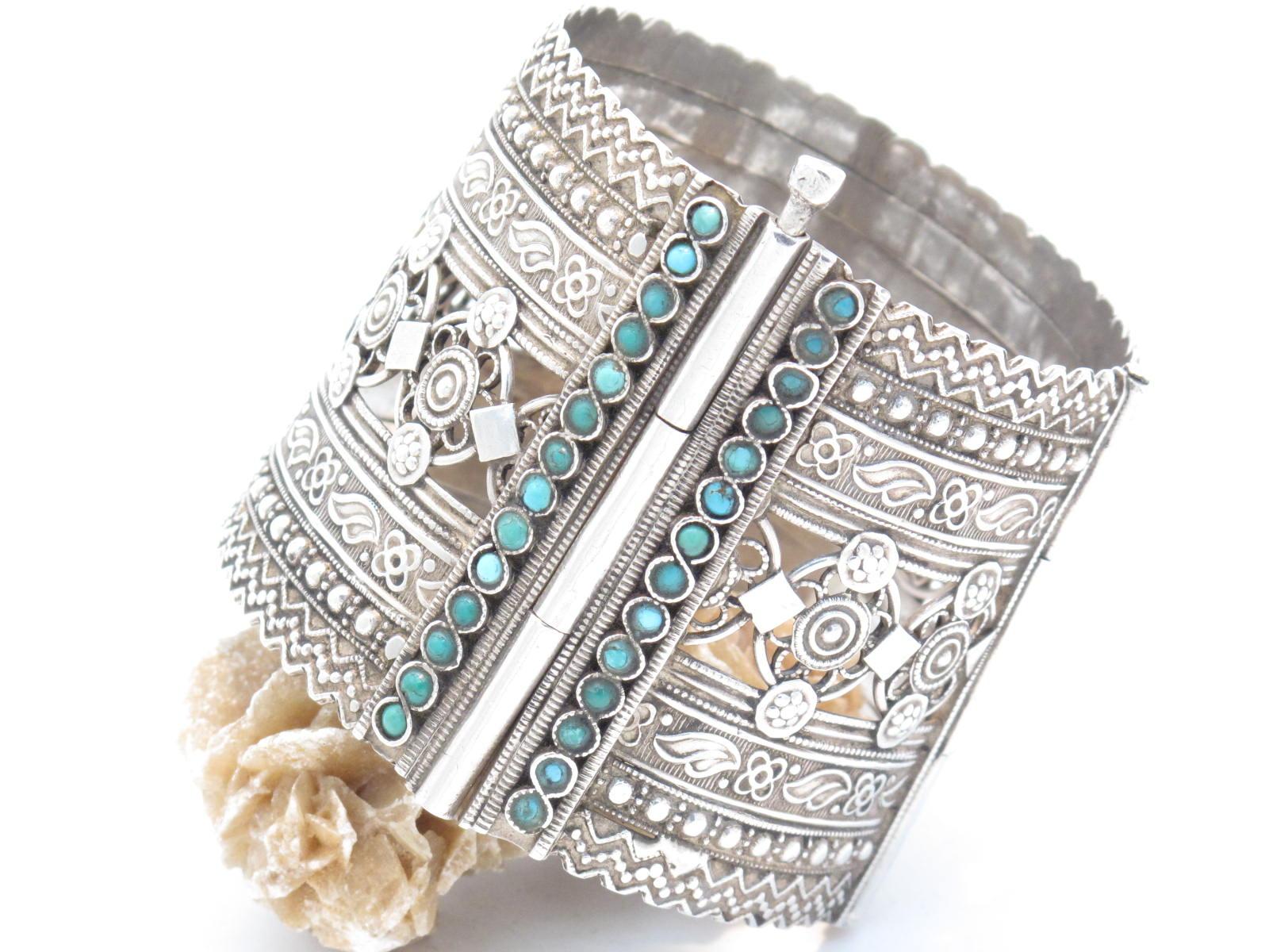 bracciale afghano argento e turchese