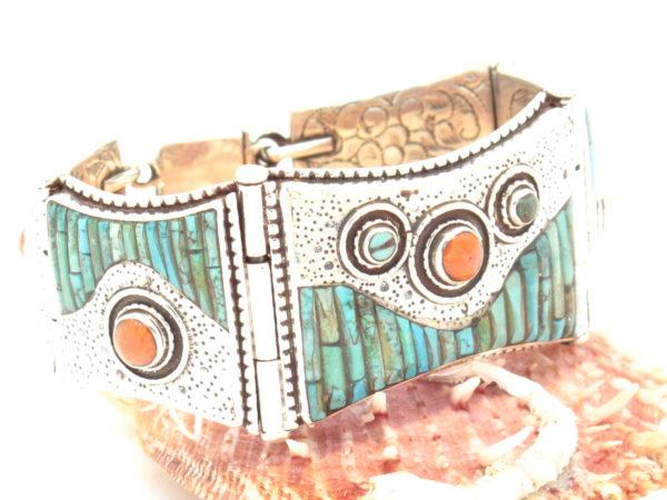 bracciale tibetano in argento turchese e corallo