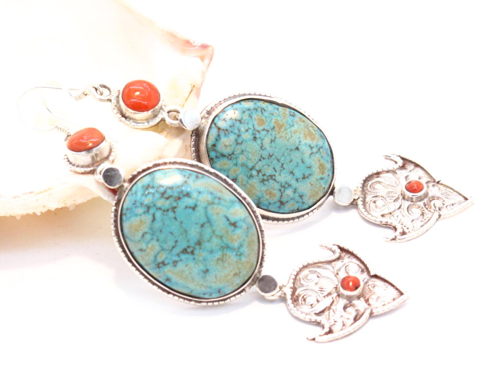 orecchini tibetani in argento turchese e corallo