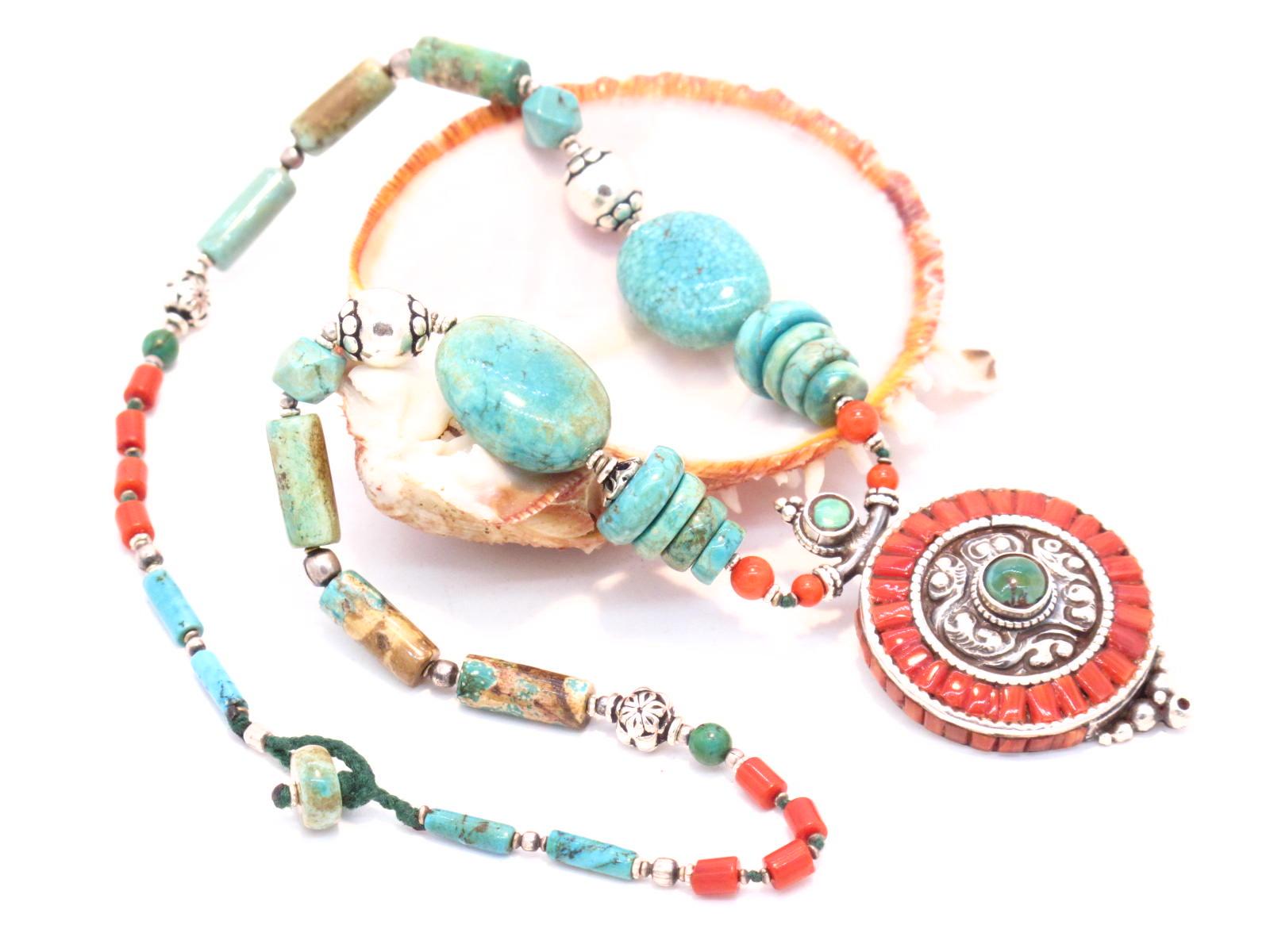 collana tibetana turchese e corallo