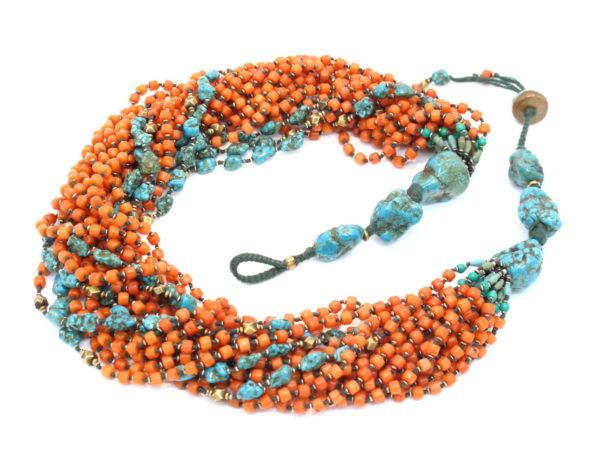 collana torchon corallo e turchese