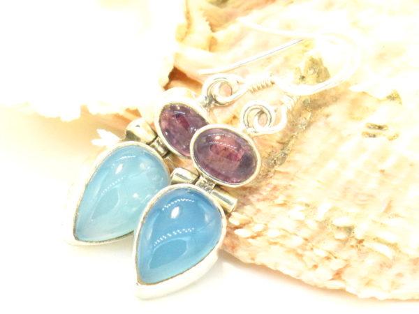 orecchini in argento calcedonio e ametista