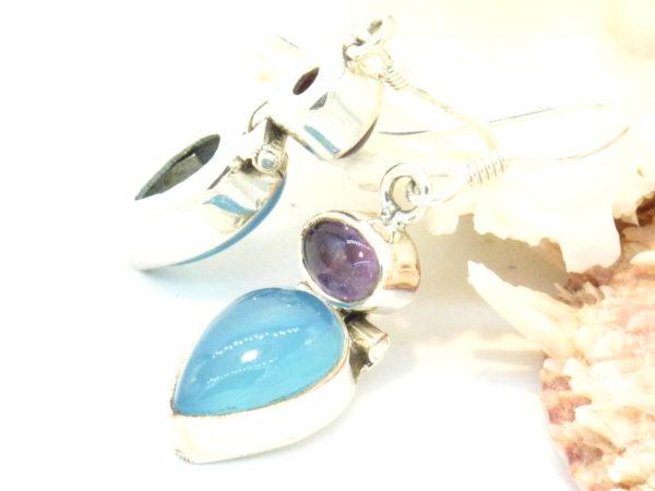 orecchini argento calcedonio e tormalina