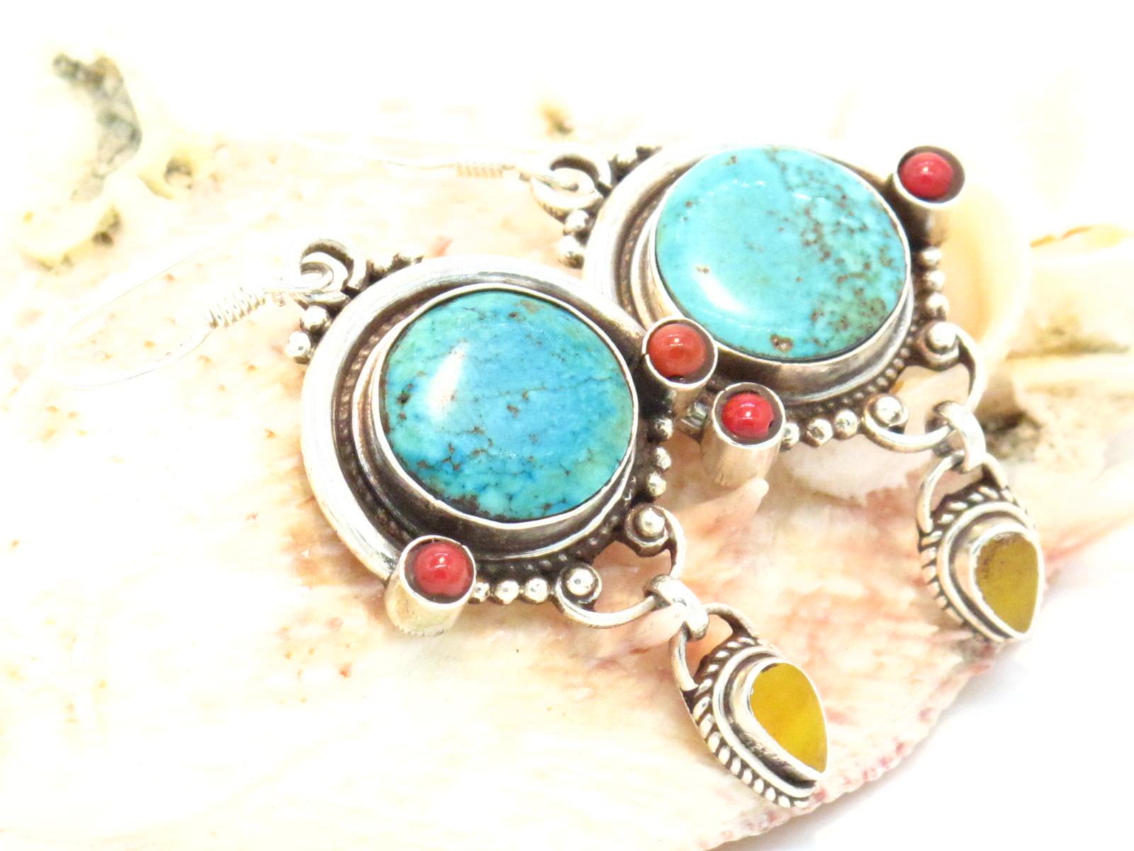 orecchini argento turchese corallo ambra