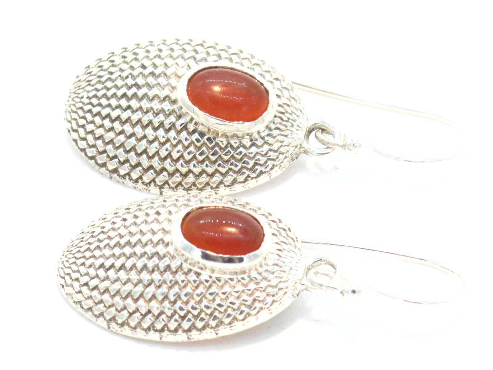 orecchini in argento e corniola nepalesi