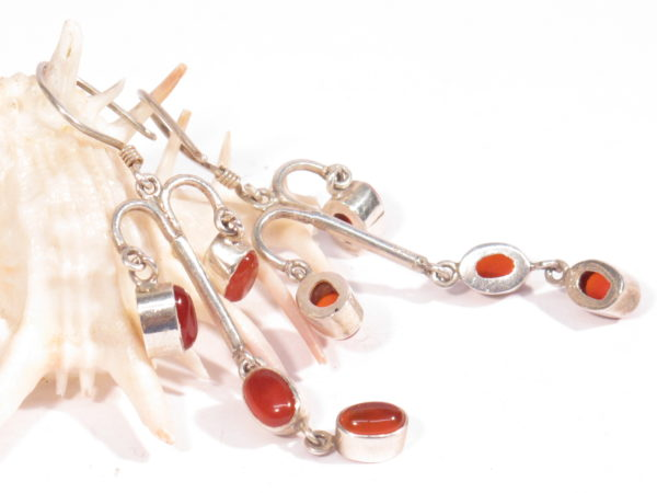 orecchini etnici in argento e corniola