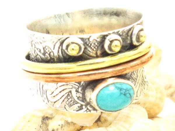 anello in argento, ottone, bronzo e turchese