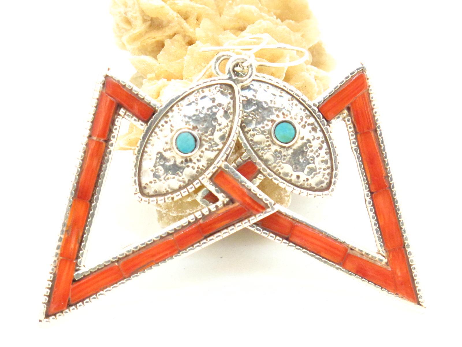 orecchini tibetani in argento corallo e turchese