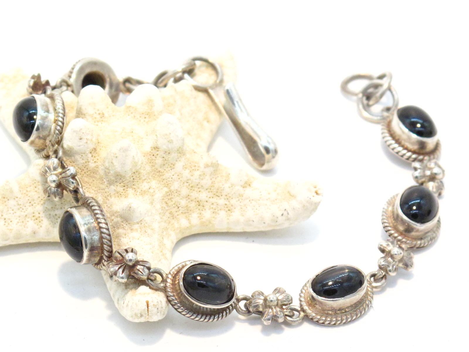 bracciale in argento e black star