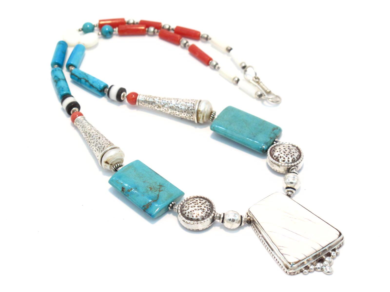 collana tibetana in turchese corallo e conchiglia
