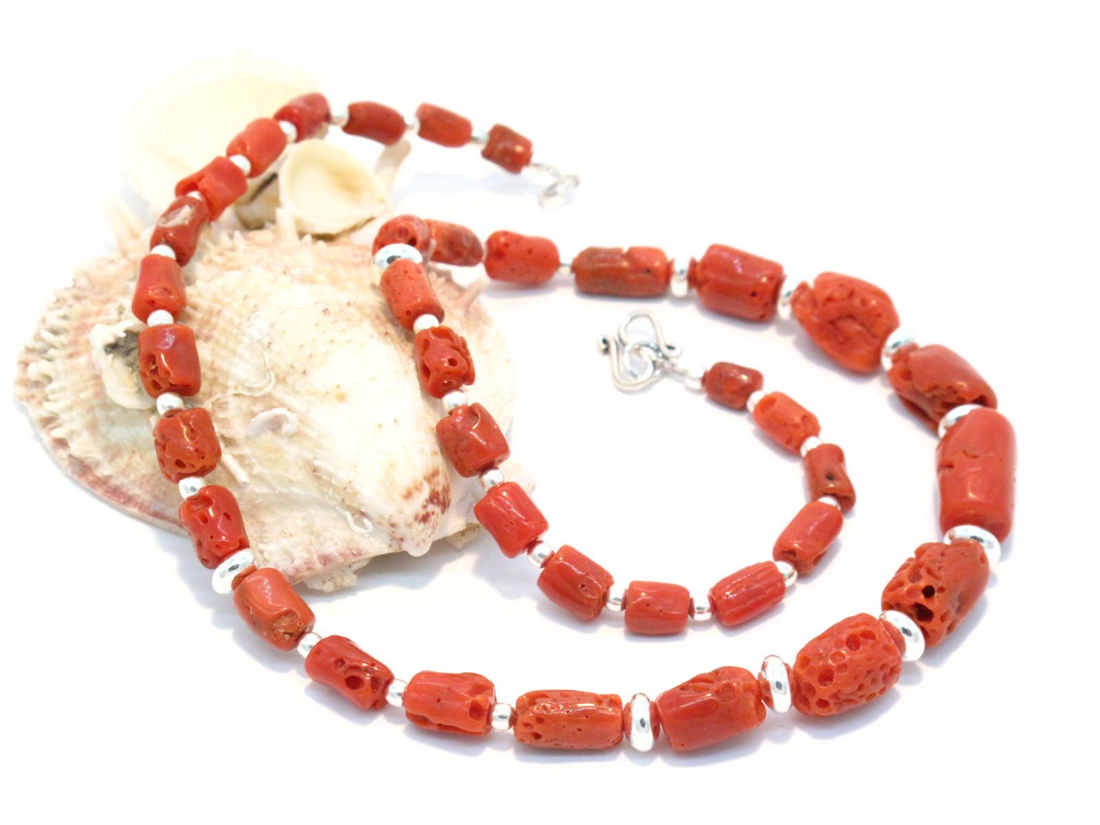 collana etnica in argento e corallo