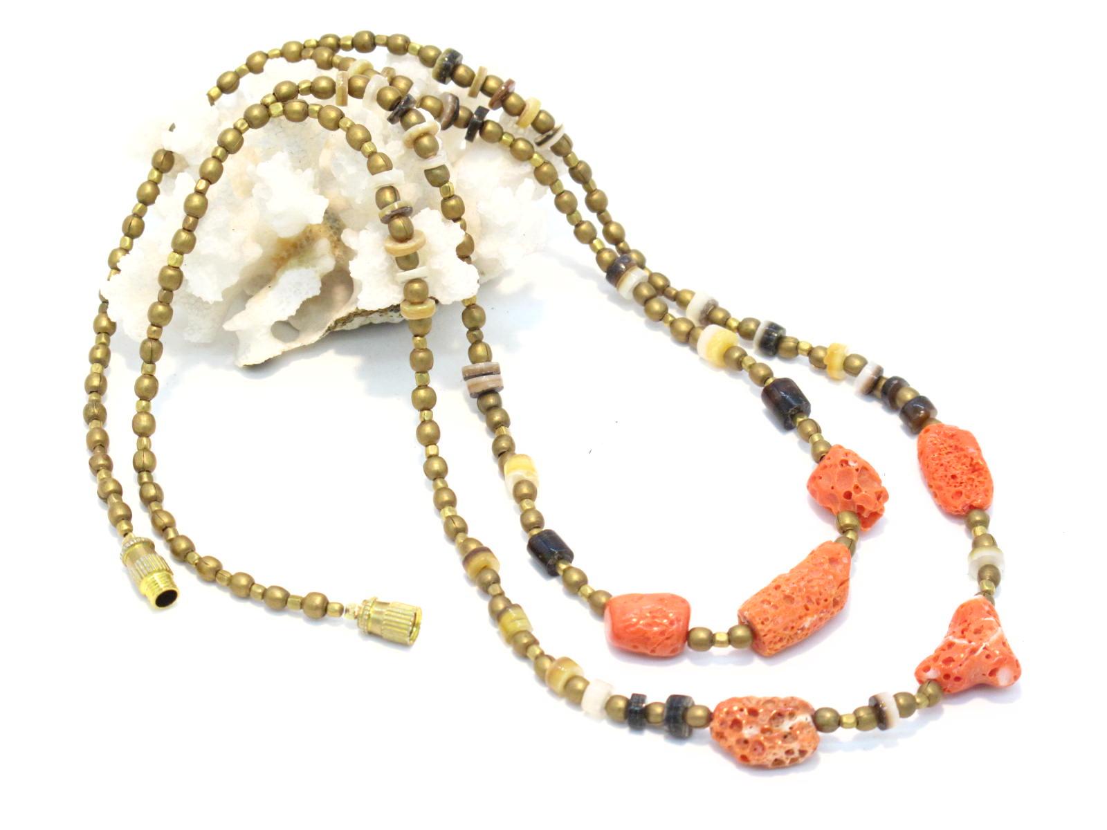 collana in ottone agate e corallo