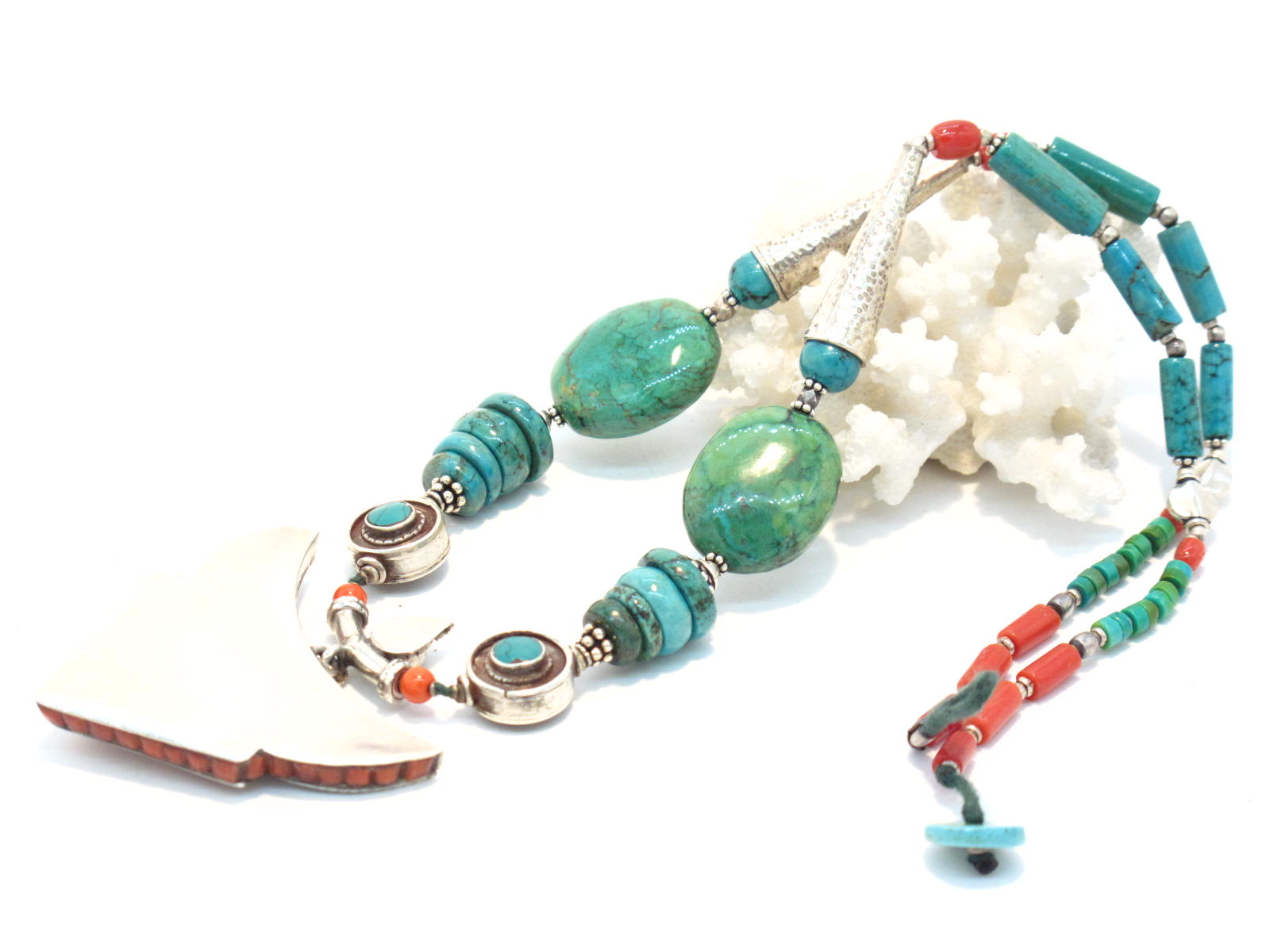 collana tibetana in argento turchese corallo