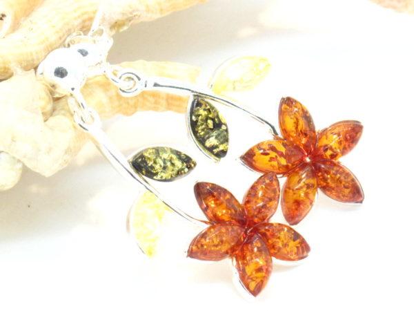 orecchini in argento e ambra multicolor