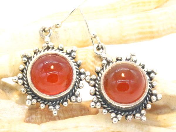 orecchini in argento e corniola