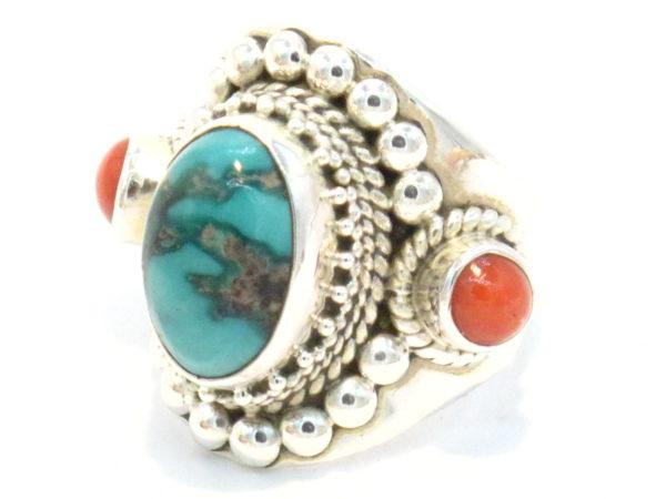 anello in argento turchese e corallo