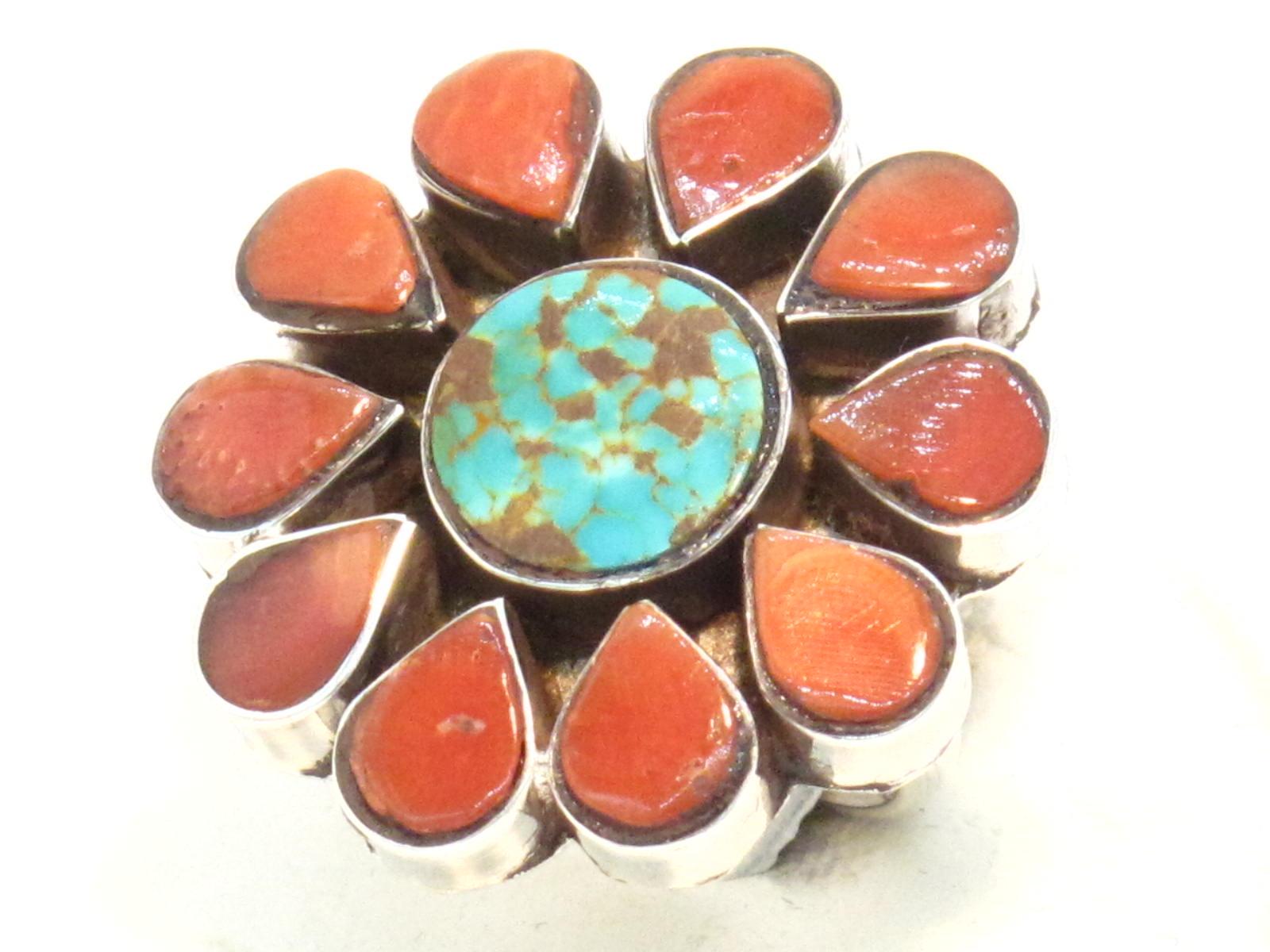 anello fiore corallo e turchese