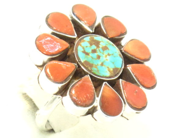 anello fiore turchese e corallo