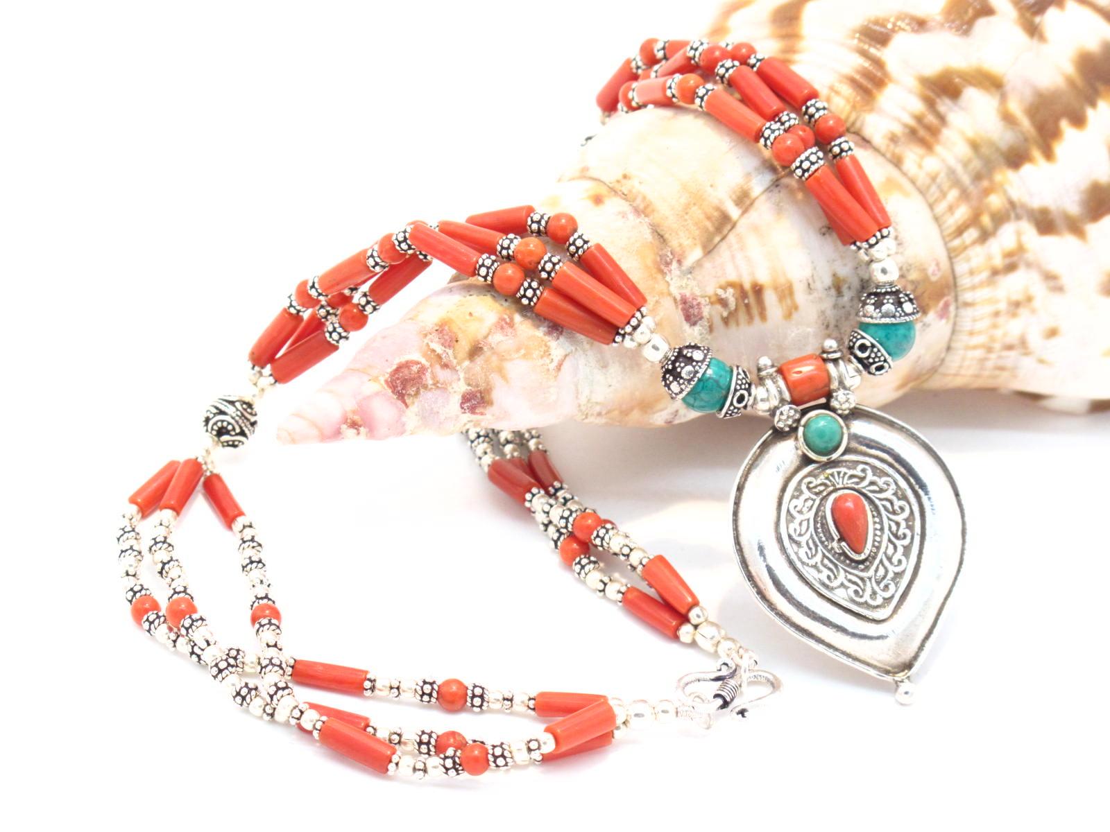collana argento corallo e turchese