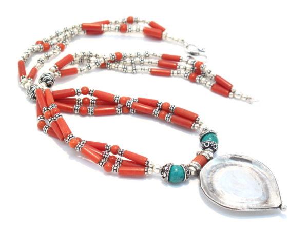 collana argento turchese e corallo