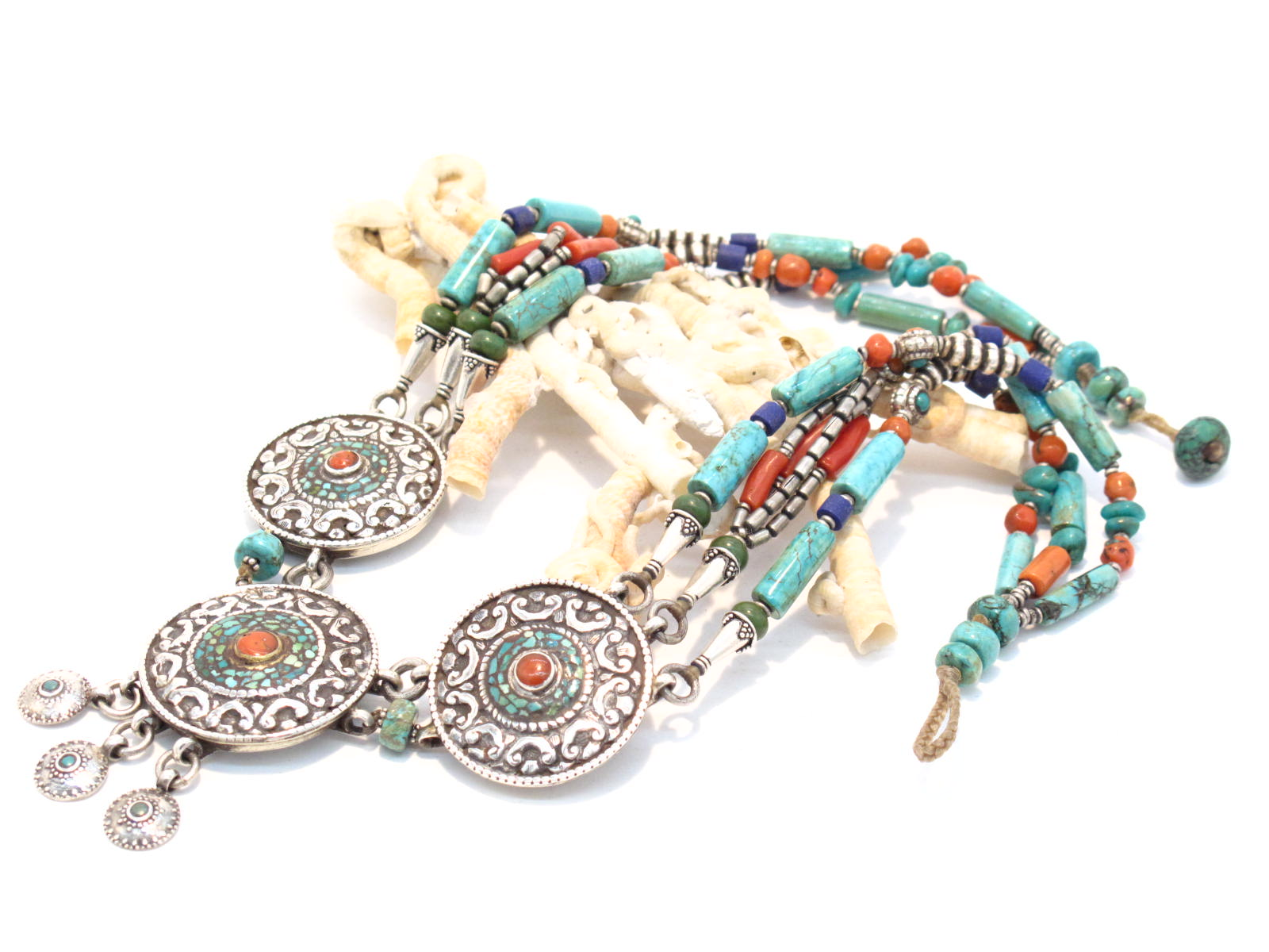 collana tibetana in argento turchese corallo lapislazzzuli