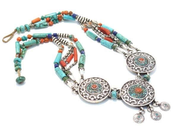 collana tibetana in argento, corallo turchese e lapislazzuli