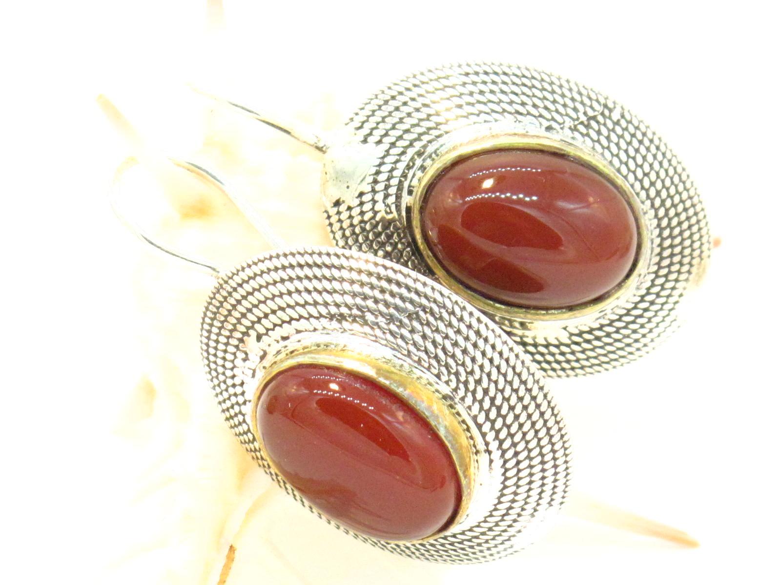 orecchini in argento argento dorato e corniola