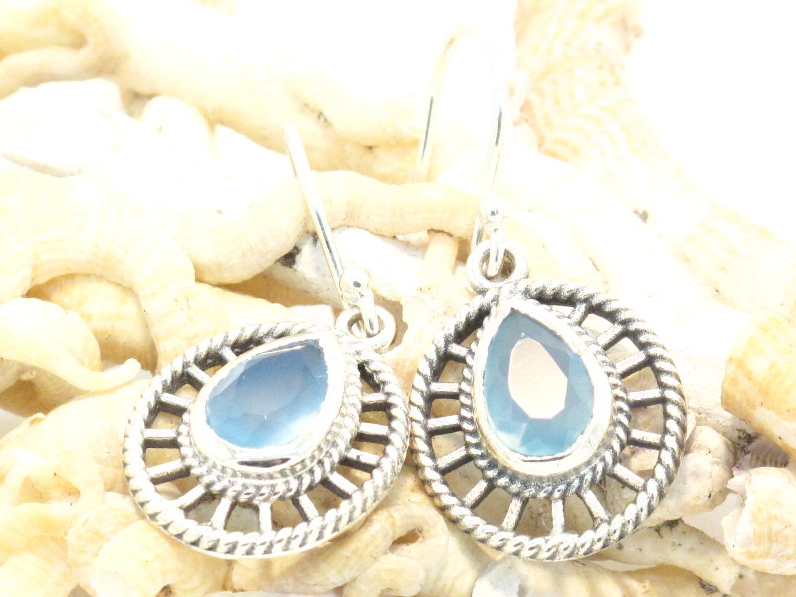 orecchini argento e calcedonio