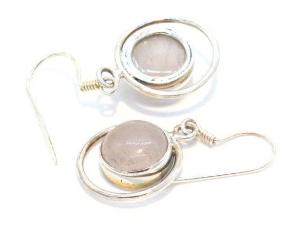 orecchini in argento e quarzo rosa