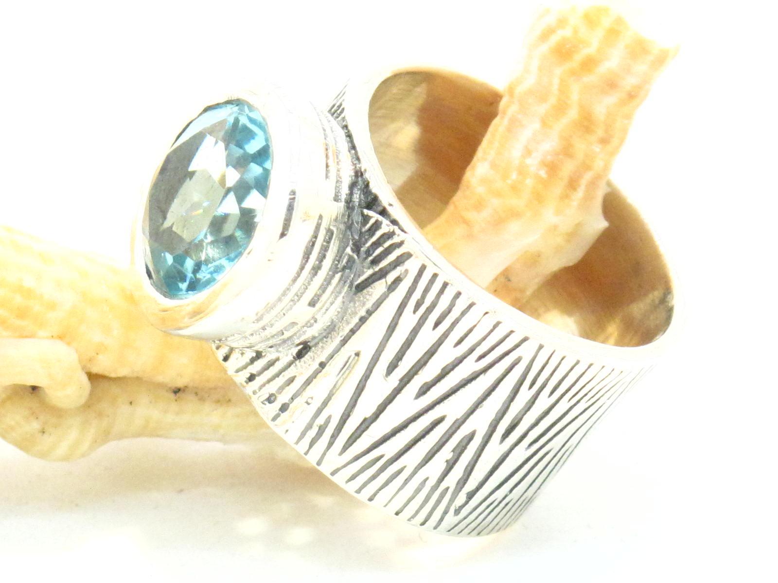 anello argento topazio azzurro