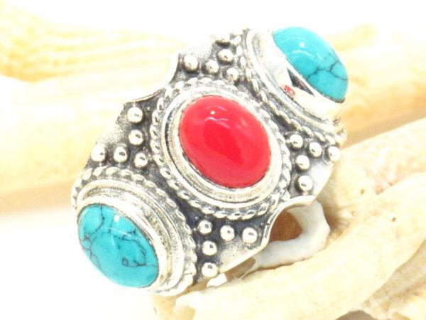 anello tibetano argento turchese e corallo