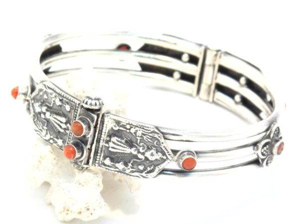 bracciale in argento e corallo